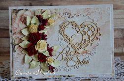 ślub z bukietem róż