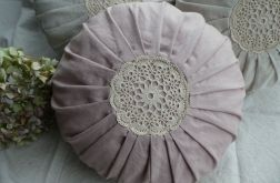 Poduszka lniana pudrowo -różowa