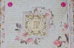 Kartka komunijna- kwadratowa- kwadratowa hostia dla dziewczynki