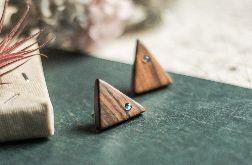 Drewniane kolczyki z labradorytami