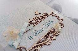 Kartka na ślub w błękitach 01, prezent, pamiątka, pudełko