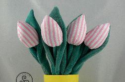 Tulipany biało różowe. Welurowe liście