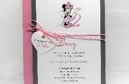 Zaproszenie dla dziewczynki szaro różowe z myszką Minnie ZUD 007