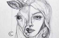 """""""Biały jeleń"""" rysunek ołówkiem, portret"""