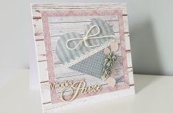 Kartka ślubna na ślub z sercem różyczki