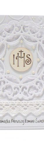 Pamiątka Komunii Świętej koronkowe koło IHS