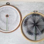 Dmuchawiec nocą- haftowany, tamborek - haftowany tamborek