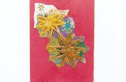 Kartka świąteczna złote gwiazdki nr 3