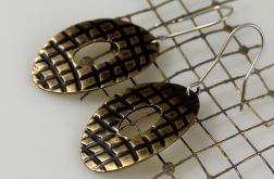 Owale w kratkę - mosiężne kolczyki 150106-03