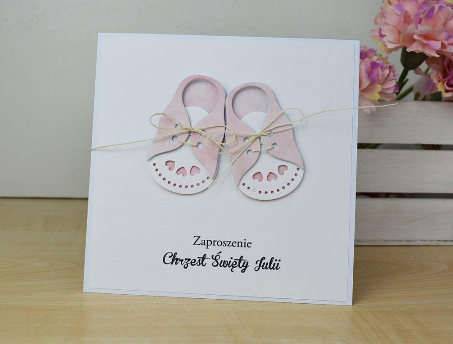 ZAPROSZENIA na chrzest - różowe buciki - buciki