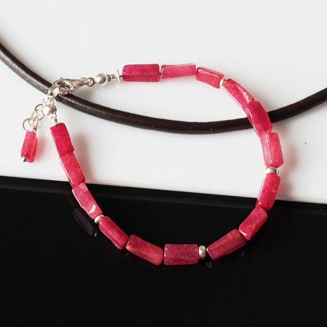 Jadeit rubinowy - bransoletka