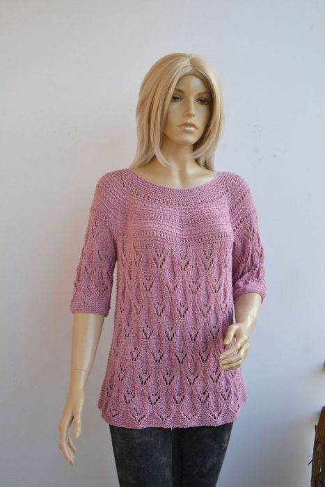 Różowy letni sweterek- bluzeczka roz. 44/46