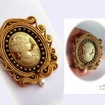 kamea i naturlna perła-broszka vintage