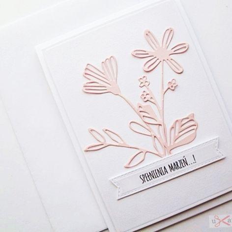 Kartka UNIWERSALNA - łososiowe kwiaty