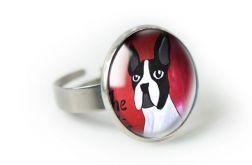 Bulldog pierścionek regulowany z ilustracją