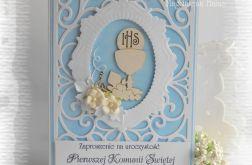 Ażurowe zaproszenia biało niebieskie