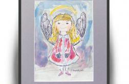 Obrazek aniołek ręcznie malowany akwarela