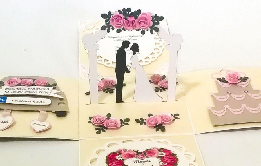 Kartka - pudełko z okazji ślubu wesele