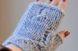 rękawiczki mitenki niebieskie z alpaki