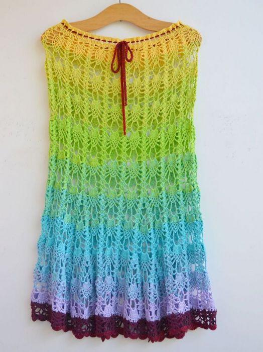 Szydełkowa spódniczka w ananasy - sukienka plażowa