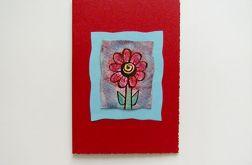 Kartka uniwersalna bordowa kwiatkiem 4