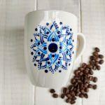 Ręcznie malowany biały kubek - ręcznie malowany kubek z mandalą