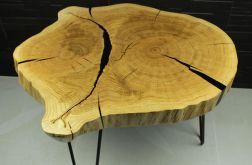 Stolik kawowy plaster drewna dąb, loft