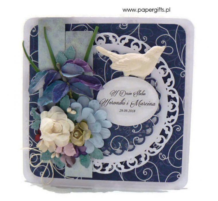 Kartka ślubna granatowa - Granatowa kartka na ślub