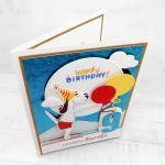 Kartka dla pływaka pies trampolina UDP 021 - Kartka dla pływaka pies na trampolinie urodziny (3)