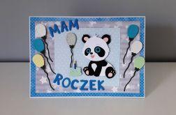 Kartka na Roczek duża A5 panda