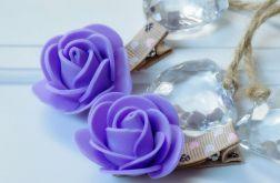 spinki handmade 2 szt. kwiatki brąz + fiolet