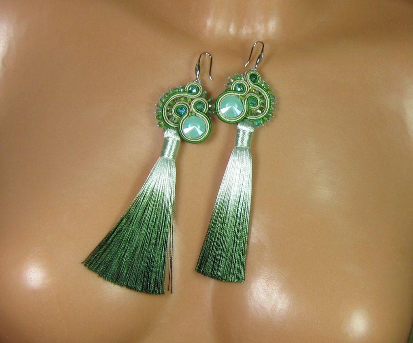 Leśne - kolczyki sutasz z chwostem zielone - Leśne - zielone z chwoste