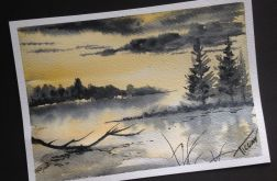 Obraz akwarela zachód woda natura pejzaż art