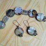 Bransoletka i kolczyki z  masy  perłowej