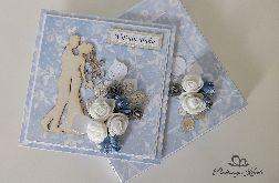 Kartka na ślub w pudełku kwiaty błękitna