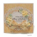 Kartka ślubna jasno-żółta ręcznie robiona - KARTKA NA ŚLUB KREM