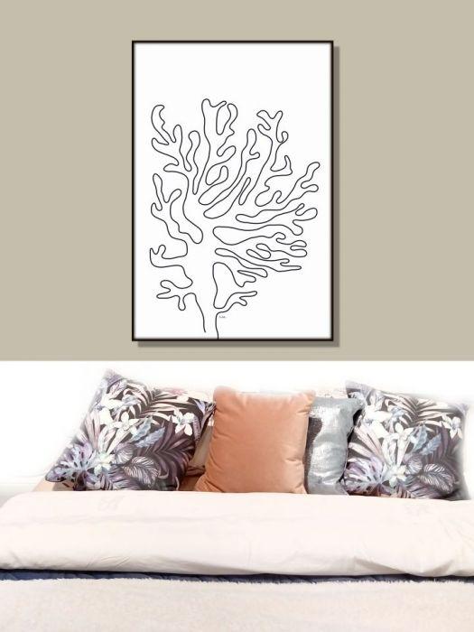 Grafika minimalistyczna Koral, Koralowiec - W różnych pomieszczeniach