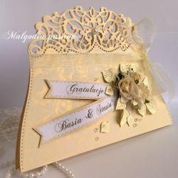 Kartka torebeczka ślubna złocista