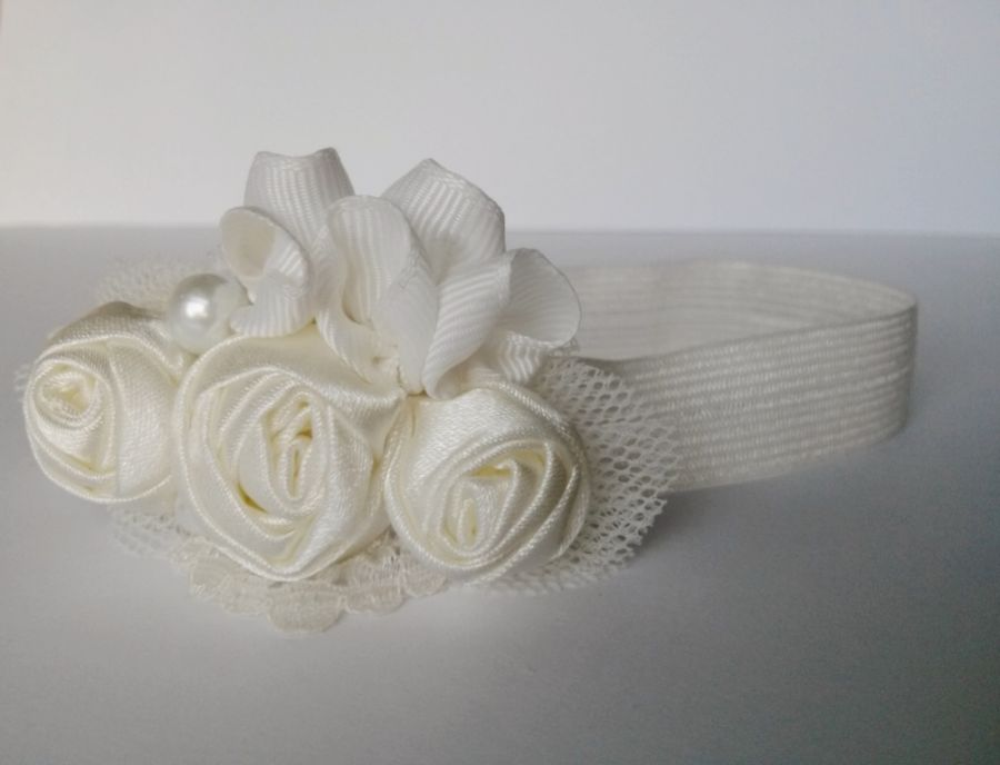 Opaska na chrzest ivory/ecru róże tutu