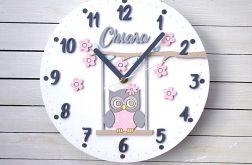 Zegar dla dziewczynki z sową i imieniem