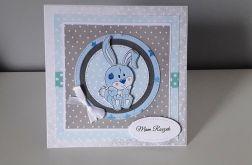 Kartka na Roczek z króliczkiem niebieska