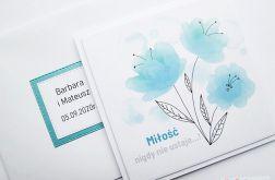 Kartka ŚLUBNA z grafiką - biało-turkusowa