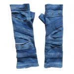 Rękawiczki niebieskie, oczka metalowe - rękawiczki mitenki oczka metalowe