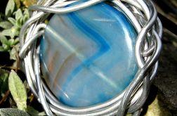 Agat aqua błękitny - wisior, metaloplastyka