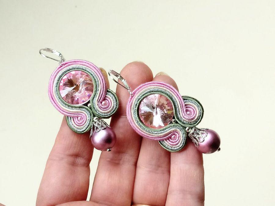 Kolczyki sutasz Pink Ball - Perła satynowa