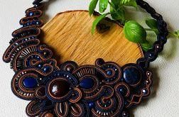 Granatowo-brązowy naszyjnik sutasz