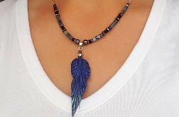 Naszyjnik boho z lapis lazuli- stal szlachetna