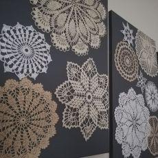 Panel ścienny, szydełkowy, 3 częściowy obraz