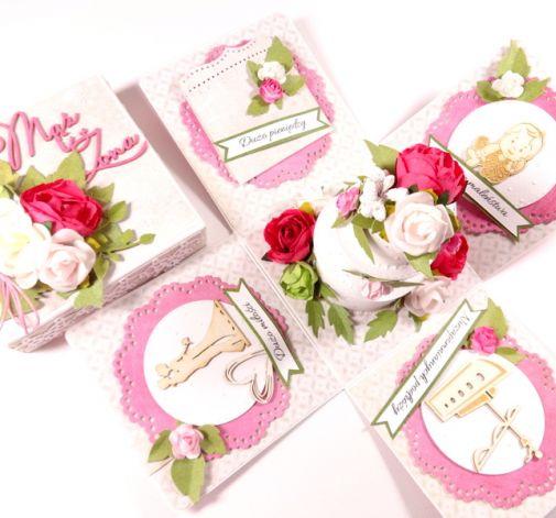 EXPLODING BOX - ciemnoróżowe na ślub