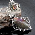 Wisiorek srebrny z labradorytem fioletowym